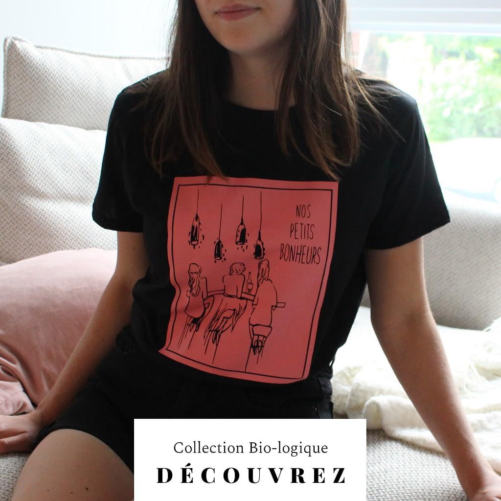 t-shirt bonheur noir